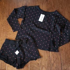 Plush Apparel Shorts Lounge Set Black Hearts Small